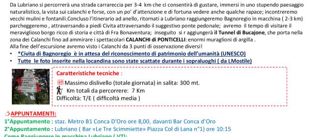 Sabato 16 Gennaio 2016 Alla Scoperta  dei Borghi  di  Lubriano & Civita di Bagnoregio  e la Valle dei Calanchi
